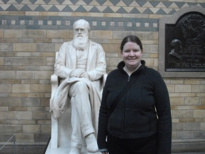 Alice Leiper and CHarles Darwin's statue at the Natural History Museum, London