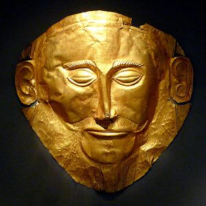shiny golden death mask of Agamemnon