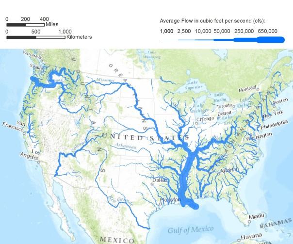USA river map