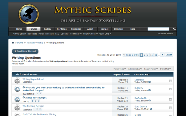 Mythic Scribes is a fantasy writers forum, and where I met Brian W Foster, whose novelette I reviewed recently.