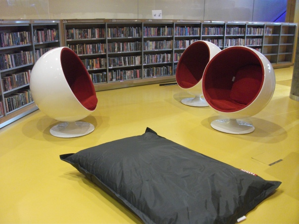 The Library boasts a vareity of different reading spaces for all kinds of readers. THese chairs reportedly direct noise away from the occupant, creating a quiet, solitary reading environment even in the middle of a large public library.