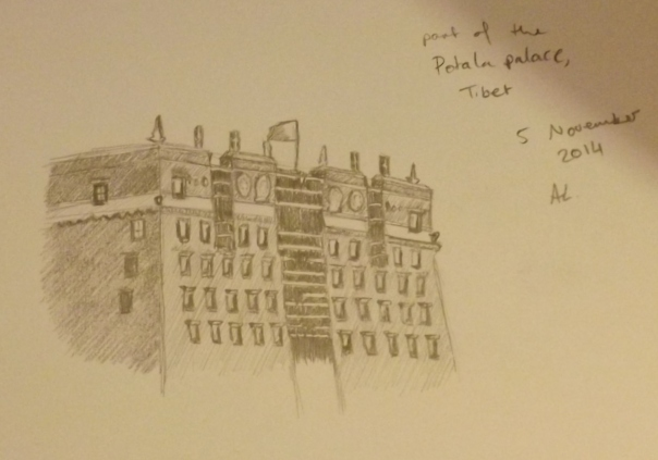 sketch of part of Potala palace in Tibet