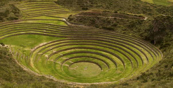 The terraces at Moray, Peru. Picture source: Wikimedia Commons.