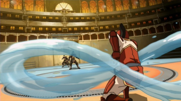 Thankfully Korra's a good enough waterbender, and has luck with her opponents lining up in a row, and manages to make a last-second knock-out.