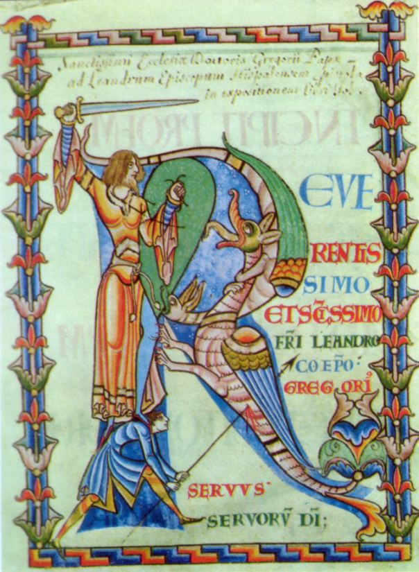 Manuscript depicting a knight and a dragon fighting within the shape of a large letter R